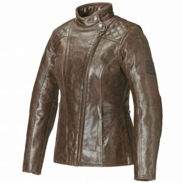 Triumph Ladies Barbour Brown Leather Motorcycle Motorbike Jacket D3O Armour